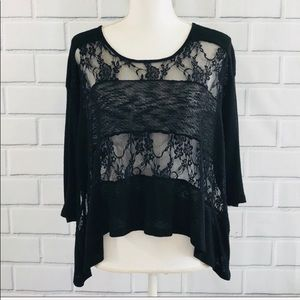 🌵Urban outfitters staring at stars lace black top